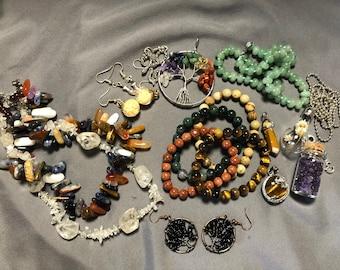 Sacred Adornments - earrings, bracelets, pendants, gemstone necklaces (intention, mindfulness, blessing, fertility, priestess, yoga)