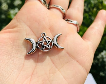 Silver-Tone Triple Moon Charm, set of ten Triple Goddess charms (moon cycle, moontime, moon mother, red tent, priestess, witch)