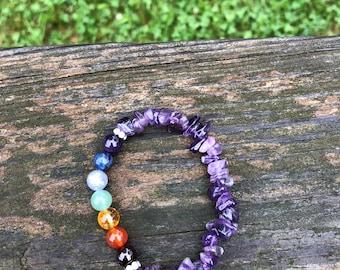 Chakra Bracelet - Amethyst (gemstone bracelet, beaded, priestess, ritual, ceremony, sacred space)