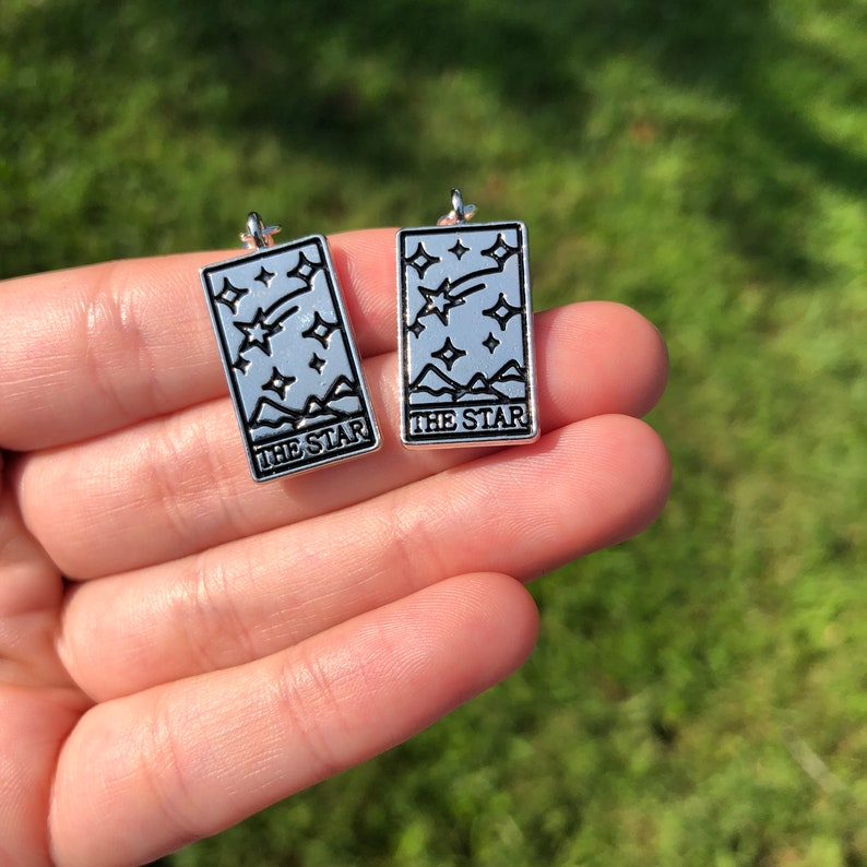 Tarot Card Earrings  The Star: Silver-tone wiccan image 0