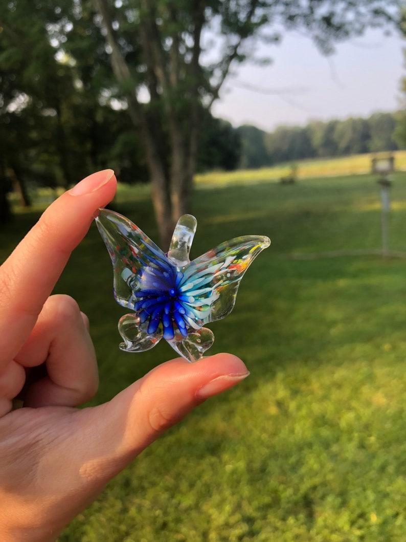 Glass Flower Burst Butterfly Pendant divine feminine image 0