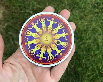 Magnet Women's Wheel of Life Goddess Mandala (goddess, Womanrunes, story goddess, goddess grid)