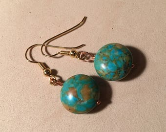 Turquoise dangle earrings - turquoise gemstone earrings - green turquoise - round lentil earring