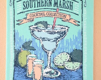 Vintage Margarita Design Printed TEE Fabric covered Stretched Canvas Wall Hanging 16x12 Inch Mancave, Kitchen, Bar