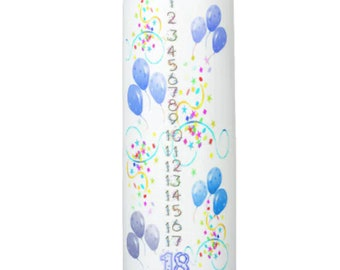 Blue Balloons Birthday Countdown Candle 1 - 18 years  9 inches tall
