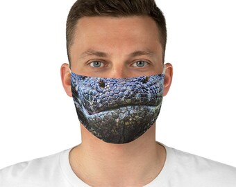 Komodo Dragon Lizard Face Mask Cover - Made to Order - Allow Appx 7 working days in Production - Printed & Ships from USA