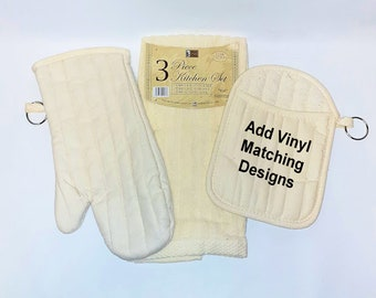 3 Piece  Blank Kitchen Set - Perfect for Matching Vinyl Sayings - Towel, Oven Mitt, Pot Holder Set, Heavy Quality, Beige, Lime Green, or Red