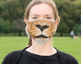 Face Mask Lion Safari Jungle Funny Face Mask Cover - MADE TO ORDER - Allow appx 14 Working days in Production