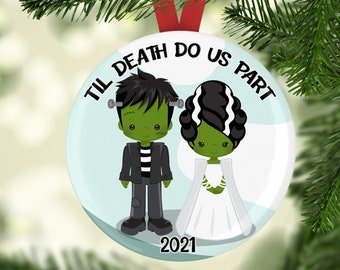 Frankenstein and Bride Christmas Tree Ornament - Personalized Ornament - Couple Ornaments 2021 - Holiday Ornaments - Newlywed Gifts