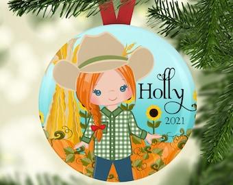 Farmer Christmas Tree Ornament - Farm Girl Ornament - Cute Ornaments - 2021 Ornaments - Girl Personalized Ornament - Fall Harvest Decoration