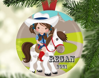 Personalized Christmas Tree Ornament - Music Ornament - Cute Ornaments - 2021 Ornaments - Girl Personalized Ornament - Cowgirl Ornament