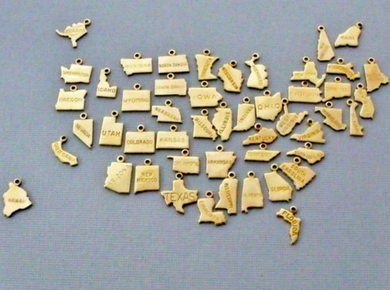 Small Gold State Charms with Jump Ring 50 States image 0