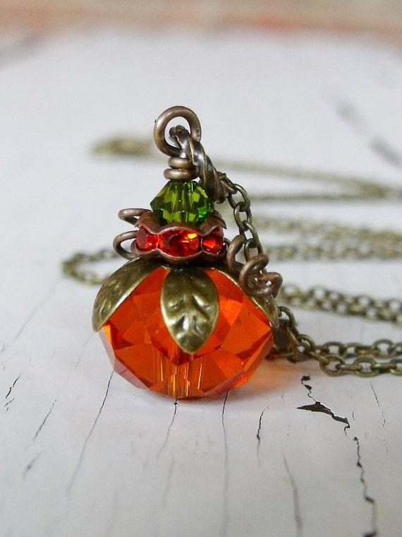Orange pumpkin necklace Pumpkin jewelry Pumpkin pendant Pumpkin gift Orange Pumpkin accessory Mother/'s day Hand embroidered necklace