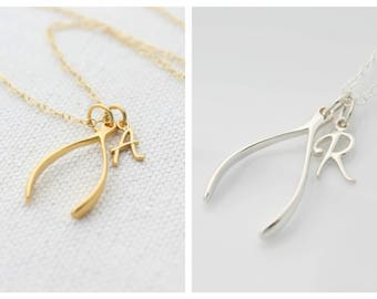 Personalized Wishbone Necklace, Sterling Silver Wishbone Charm Necklace, Gold Wishbone, Large Wishbone Pendant Necklace, Wishbone Jewelry