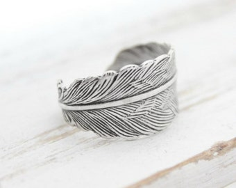 Silver Adjustable Feather Wrap Ring, Simple Silver Feather Jewelry, Gifts Under 20, Feather Ring