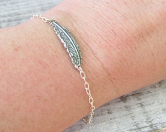Feather Bracelet, Small Silver Feather Bracelets, Feather Jewelry, Gift For Her, Stacking Bracelets, Simple Feather Jewelry, Casual Jewelry