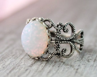 Sterling Silver Opal Ring, White PinFire Opal Rings,Vintage Glass Opal Ring,Filigree Opal Ring,Pink Opal,Opal Jewelry,October Birthstone