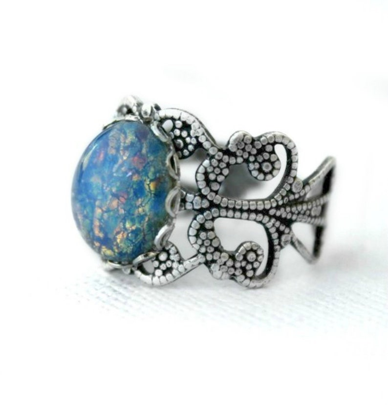 686c9a343a7c2 Silver Fire Opal Ring, Sparkling Blue Opal, Unique Rings, Opal Jewelry,  Ring For Her, Opal Birthstone, Adjustable Filigree Ring Band,