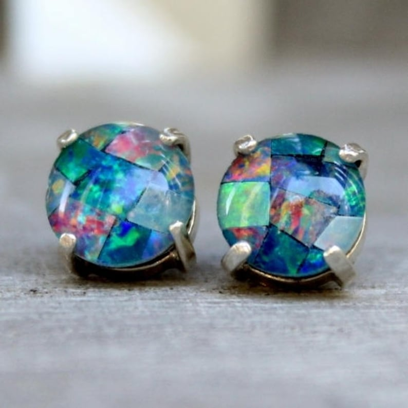 83534d77bb8df Australian Opal Earrings, Sterling Silver Opal Stud Earrings, Round Mosaic  Opal Jewelry, Genuine Triplet Opal Earrings, Gifts For Her