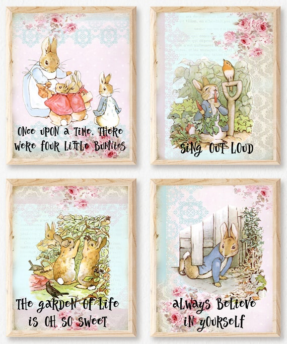 Beatrix Potter Home Decor Gift Nursery ART PRINT Peter Rabbit Quote Wall Art