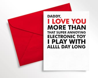 Printable Father's Day Card | For Dad from Toddler | Digital Download | Funny Love Note to Daddy | Birthday Card for Dad