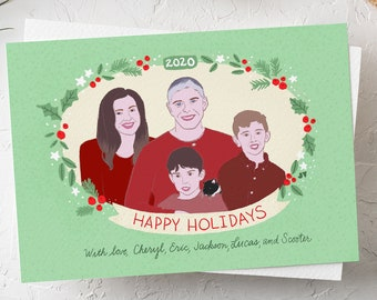 Family Portrait Holiday Card: Custom Illustration Personalized Portraits (Digital Only)