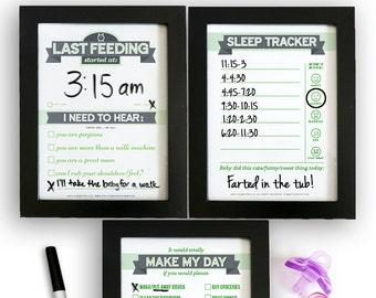Printable: Dry Erase Baby TRIO, Green | DIY Baby Shower Gift for Mums. Last Feeding Tracker. Baby Feeding Chart. Sleep Tracker. Chore Chart.