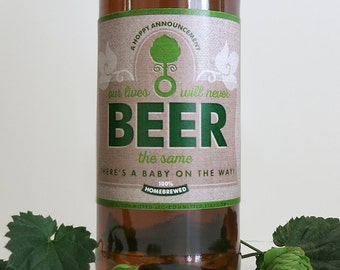 Printable Pregnancy Announcement Beer Labels | Shabby Chic Burlap Bottle Labels + Carrier Art (Instant Download)