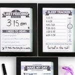 Printable: Dry Erase Baby TRIO, Navy Blue | DIY Baby Shower Gift. Last Feeding Tracker. Baby Feeding Chart. Sleep Tracker. Chore Chart.