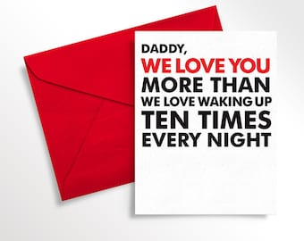 Printable Father's Day Card from Twins | Baby's First Card to Daddy from Multiples | Funny Love Note for Dad | Digital Download