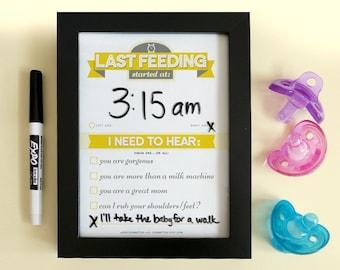 Printable: Dry Erase Newborn Feeding Tracker, Yellow  | DIY Baby Shower Gift. Last Feeding Tracker. Baby Feeding Chart.