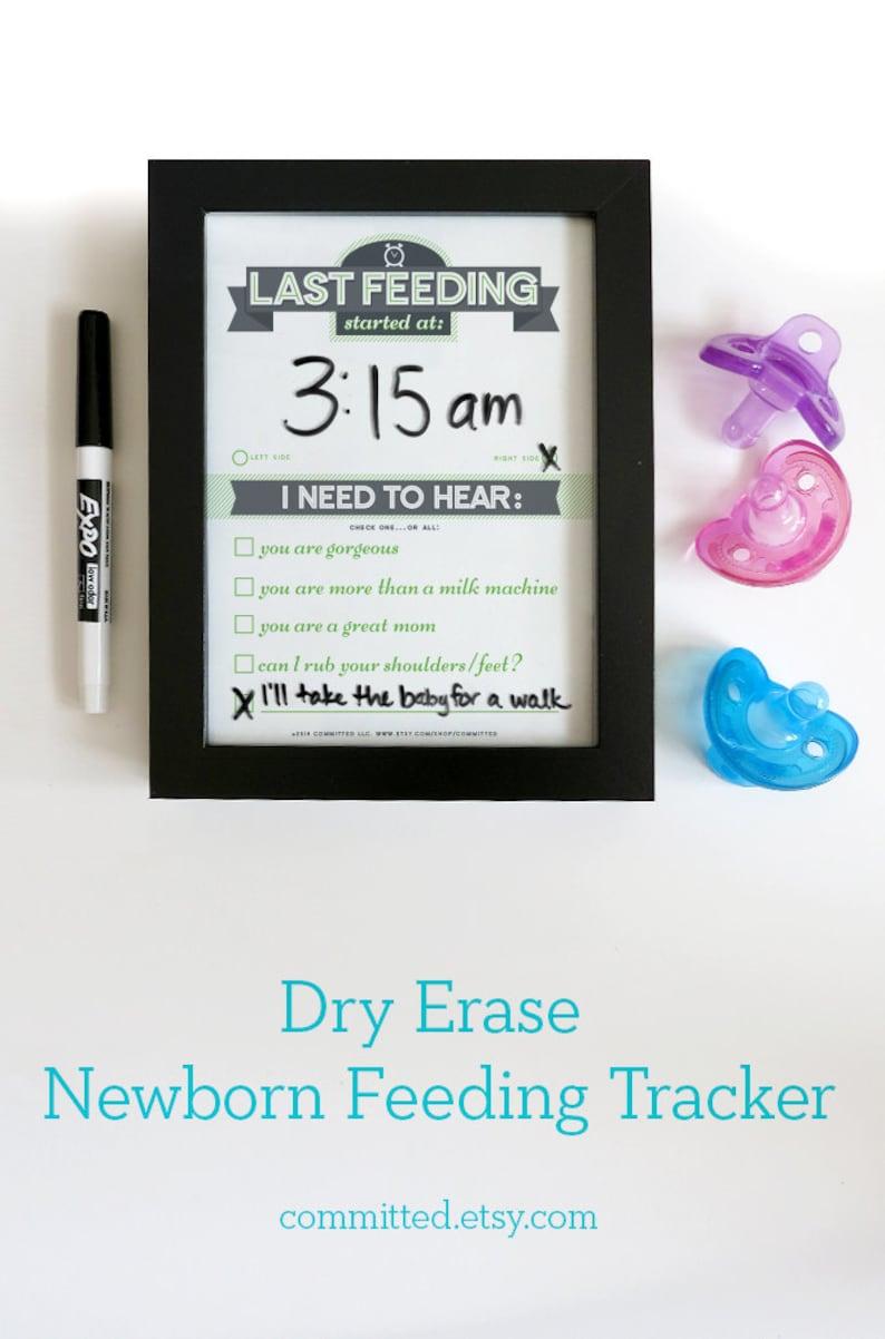 Dry Erase Newborn Feeding Tracker. Baby Shower Gift. GREEN Dry image 0