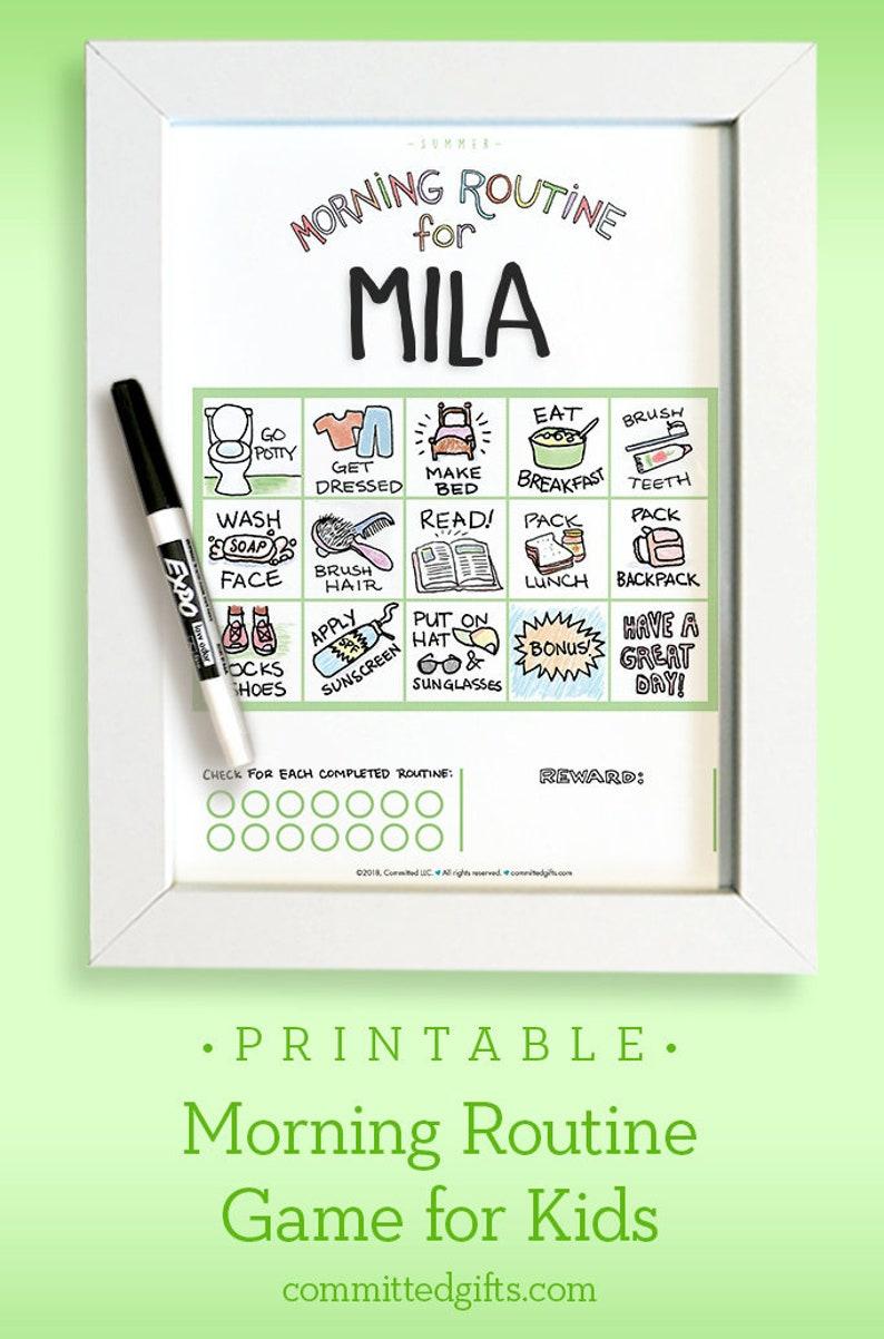 Printable Morning Routine Chart Game for Toddler & Preschooler image 0