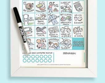 Printable Bedtime Routine Chart Game for Toddler & Preschooler | Dry Erase | Customize | Illustrated Reward Chart | Evening Routine | Boy
