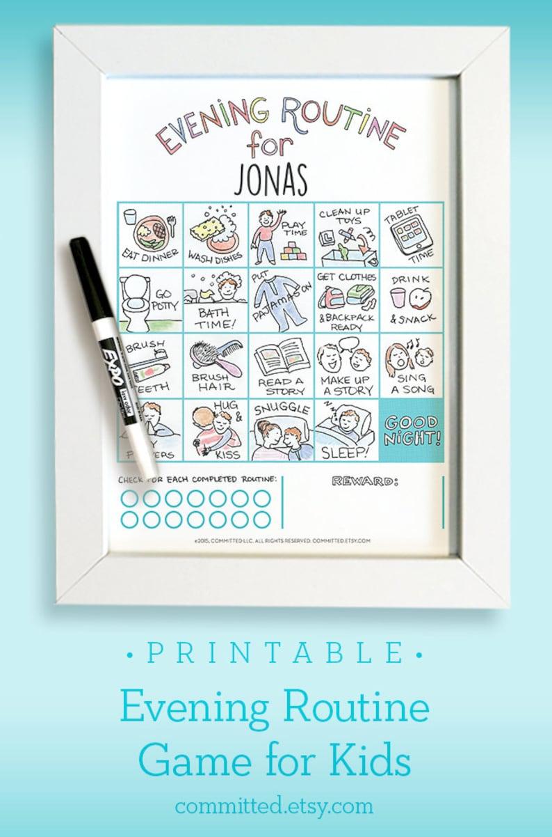 Printable Bedtime Routine Chart Game for Toddler & Preschooler image 0