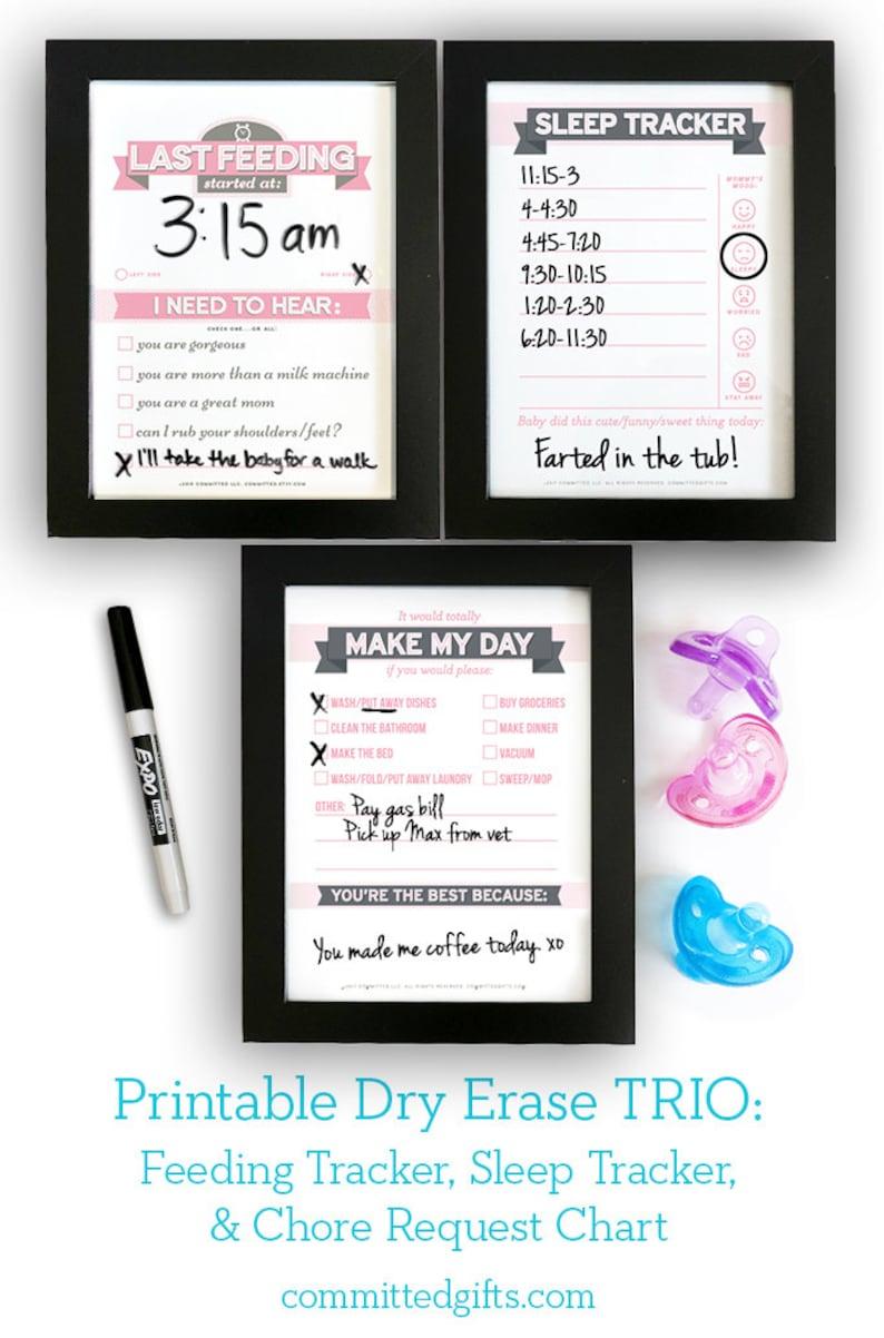 Printable: Dry Erase TRIO Newborn Feeding Tracker Sleep image 0