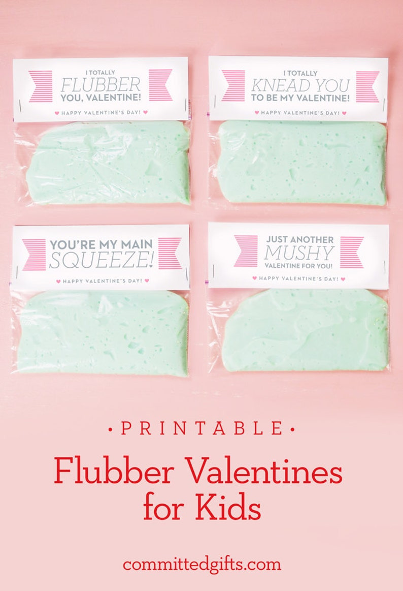 Printable Flubber Valentines for Kids  DIY Cards for Class  image 0