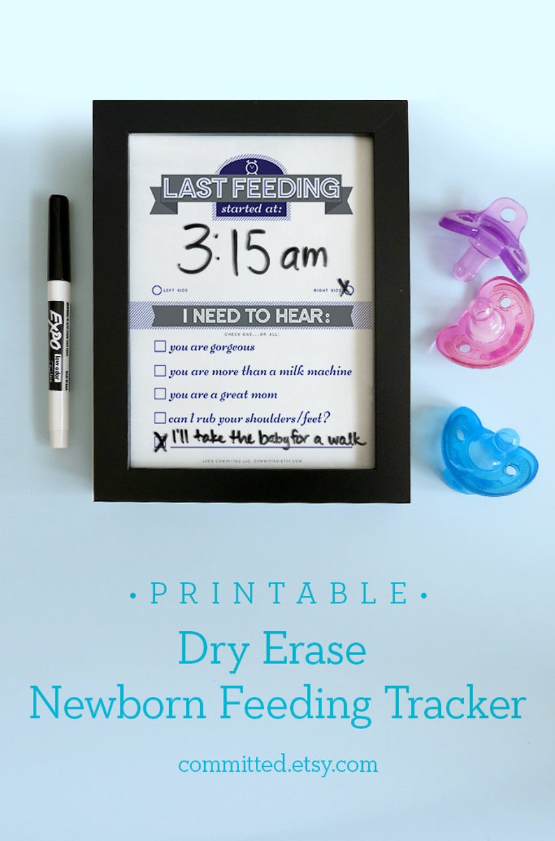 Baby Gift Printable: Dry Erase Newborn Feeding Tracker Navy image 0