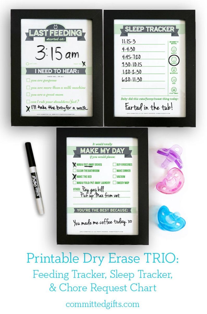 Printable: Dry Erase Baby TRIO Green  DIY Baby Shower Gift. image 0