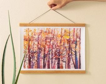 Lost in Autumn Watercolor Print, Watercolor Art, Contemporary Art, Birch Tree Art,Cabin Decor, Home Decor Art, Living Room Art, Wall Art