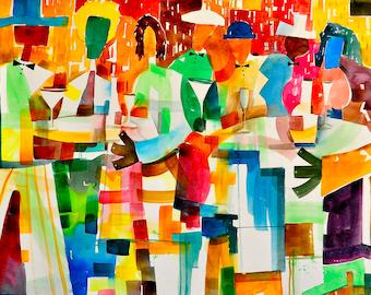 Watercolor Print, African American Art, Contemporary Art, Urban Art, Watercolor Art, Home Decor Art, Wall Art, Black Art