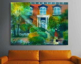 Savannah Stroll Canvas Print , African American Art, Canvas Art, Canvas Wall Art,Home Decor Art, Canvas Painting,Abstract Art, Wall Art