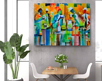 Tea in the City Canvas, African American Art, Canvas Art, Canvas Wall Art,Home Decor Art, Canvas Painting,Abstract Art, Wall Art