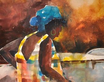 Watercolor Print, African American Art, Contemporary Art, Home Decor Art, Colorful Art, Large African Art, Wall Art, Black Art