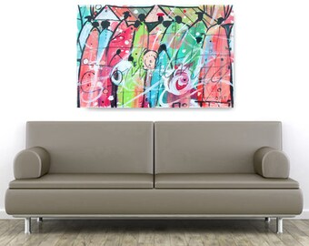 Colorful Community Watercolor Print, African American Art, Black Art, Wall Art,Home Decor Art, Watercolor Art,Abstract Art, Wall Art