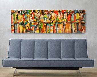 City Cocktails Canvas, African American Art, Canvas Art, Canvas Wall Art,Home Decor Art, Canvas Painting,Abstract Art, Wall Art