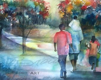 Family Time  Canvas, African American Art, Contemporary Art, Watercolor Art, Urban Art, Family Artwork, Large African Art, Print