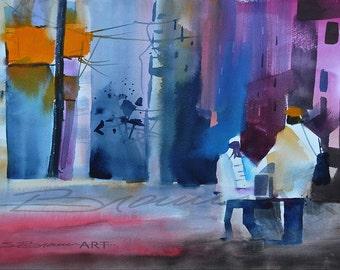City Stroll Watercolor Print, African American Art, Contemporary Art, Urban Art,Home Decor Art, Watercolor Art, Black Artwork, Wall Art