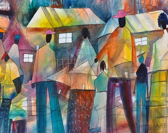 Community Affair Watercolor Painting, African American Art, Contemporary Art, Watercolor Art, Home Decor Art, Urban Art, Large African Art