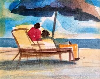 Beach Time Watercolor Print, African American Art, Black Art, Wall Art,Home Decor Art, Watercolor Art,Abstract Art, Wall Art